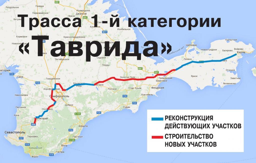 Как пройдет трасса Таврида Крым схема
