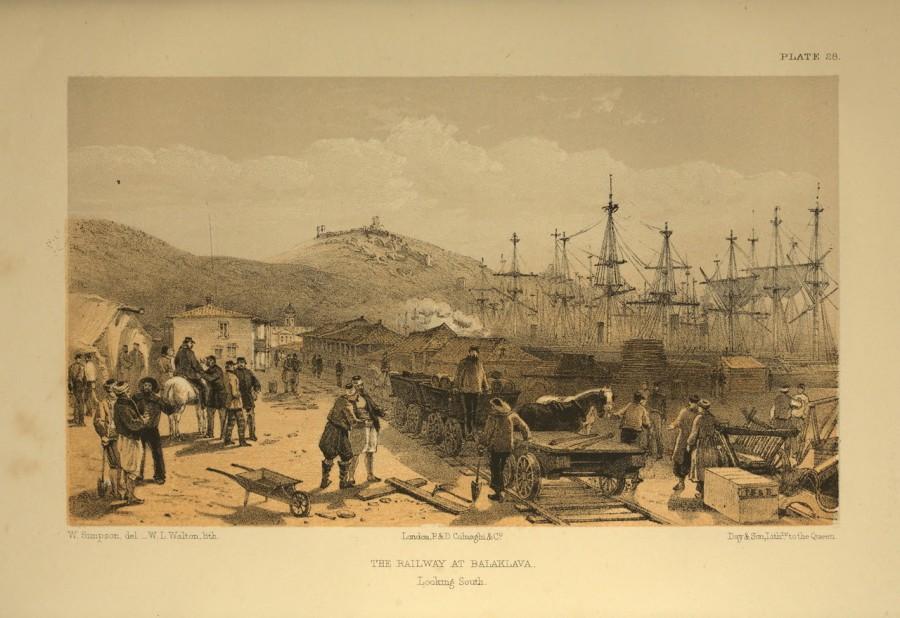 Строительство железной дороги в Балаклаве. Гравюра 1855года