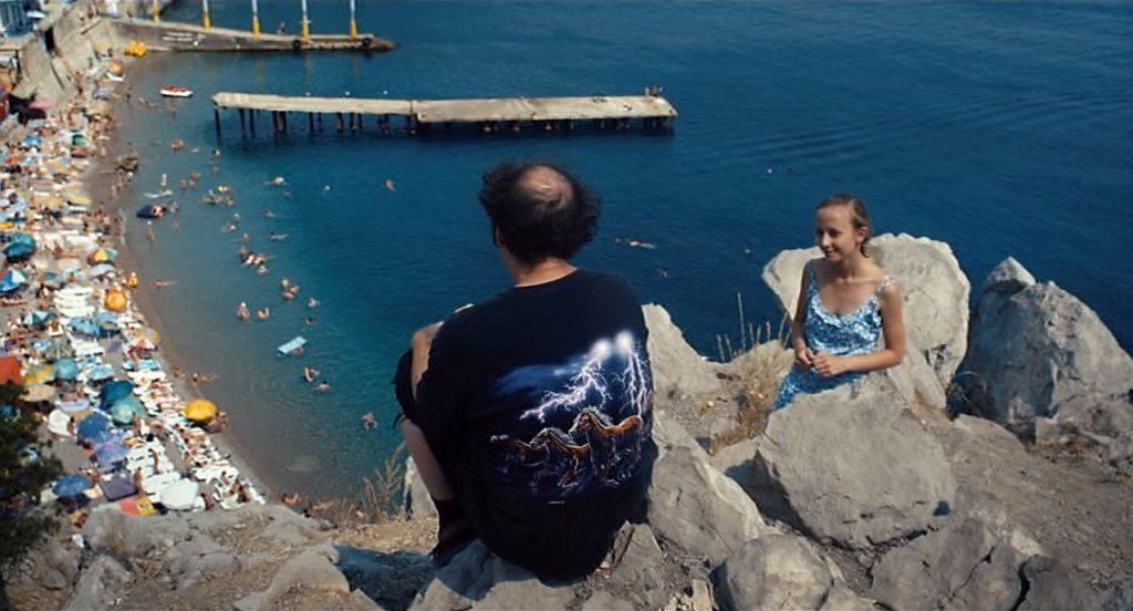 Очередной бубнёж мрачного Киберстранника на скале Панеа. Внизу - городской пляж Симеиза.