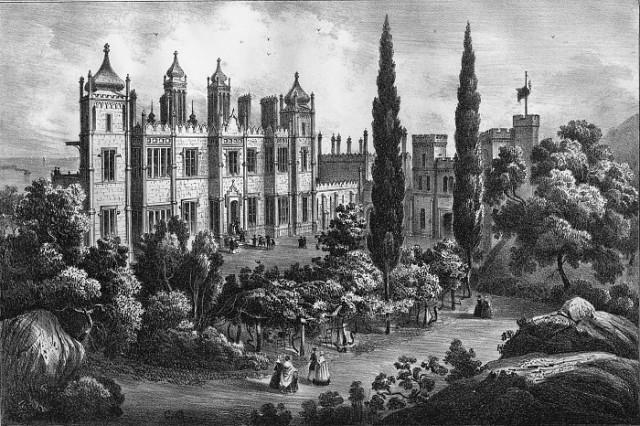 Потемкинские кипарисы в Алупке, эскиз 1842 года