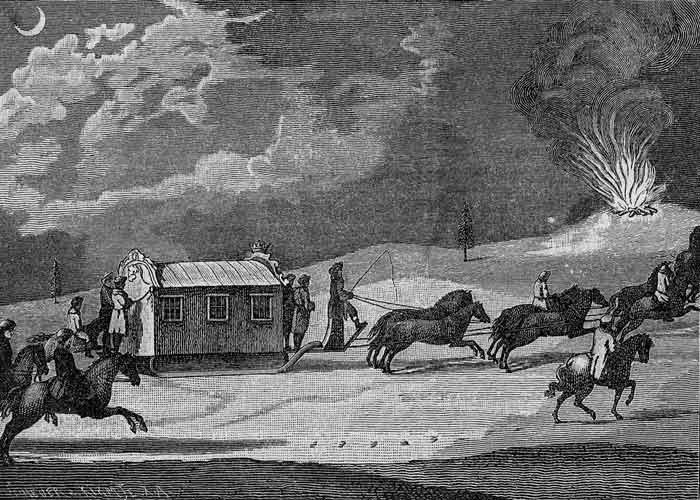 Путешествие Екатерины Второй в Крым. Гравюра 1883 года